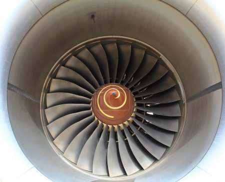 Aircraft jet engine in Airport