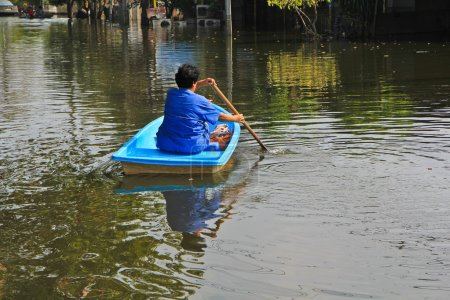 Woman swiming on boat