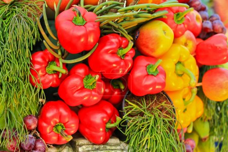 Photo for Red and yellow peppers on market place - Royalty Free Image