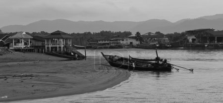 Photo for Long-tailed boat on river in thailand - Royalty Free Image