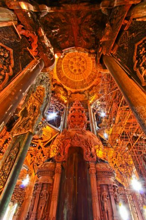 Photo for Wood carving inside Chonburi temple in thailand - Royalty Free Image