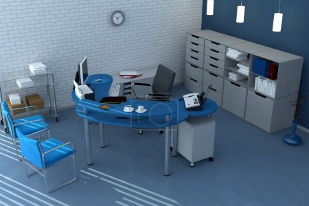 Blue office space