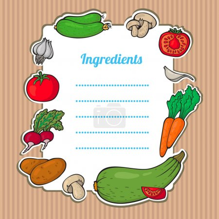 Cartoon fresh vegetables card. Lovely vertical composition on wooden background with space for your text, surrounded by colorful food icons. Cute grunge frame with vegetables, isolated.