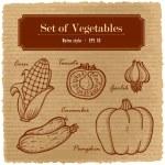 Постер, плакат: A large set of fresh vegetables Various vegetables on the grange retro background
