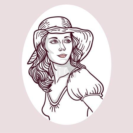 Illustration pour Vintage portrait de jeune femme en trame. style rétro. - image libre de droit