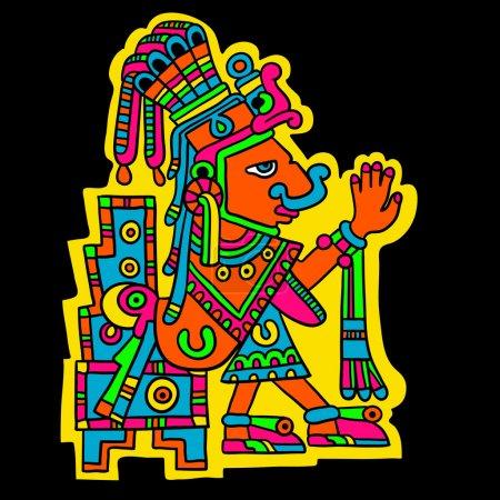 Illustration pour Personne. Image flyuro des Mayas. Maya conçoit. Éléments de conception Maya . - image libre de droit