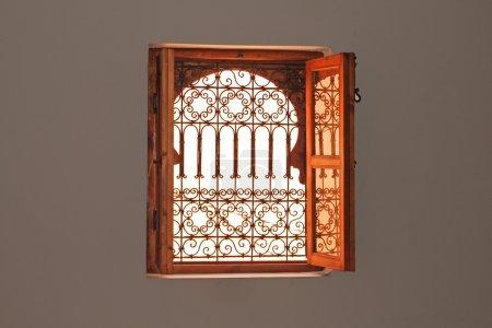 Photo for Beautiful dark light in arabic style window - Royalty Free Image