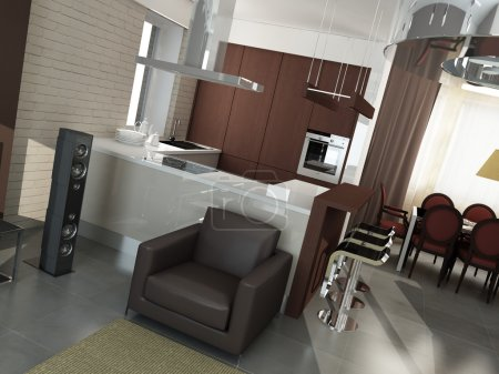 Photo pour Design intérieur moderne (rendu 3d appartement de privat) - image libre de droit