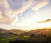 Picturesque Tuscany landscape at sunset, Italy
