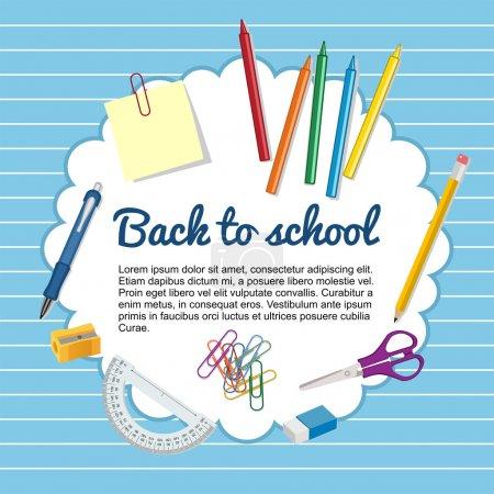 Illustration pour Fournitures scolaires pour la rentrée scolaire - image libre de droit