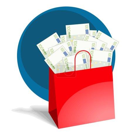 Shopping bag full of money