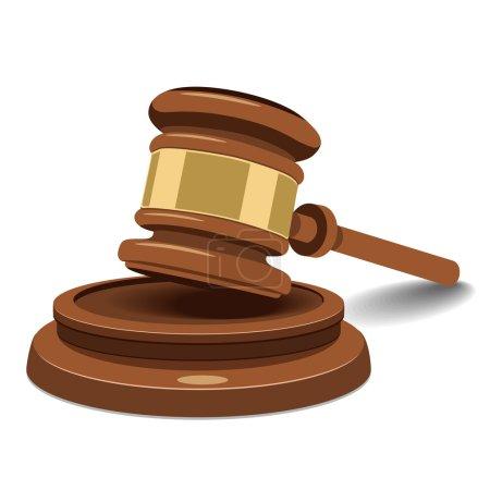 Illustration pour Marteau ou maillet juge avec incrustations métalliques - image libre de droit