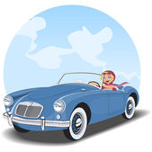 Girl driving a convertible vintage car with sky background