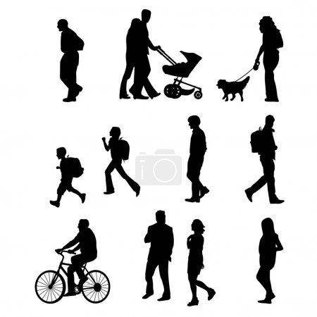 Illustration pour Hommes et femmes d'âges divers marchant - image libre de droit