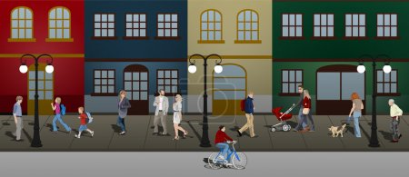 Illustration pour Hommes et femmes d'âges divers marchant le long d'une rue de la ville - image libre de droit