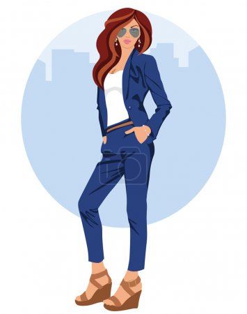 Illustration for Young woman with elegant dress, sunglasses and wedge sandals - Royalty Free Image