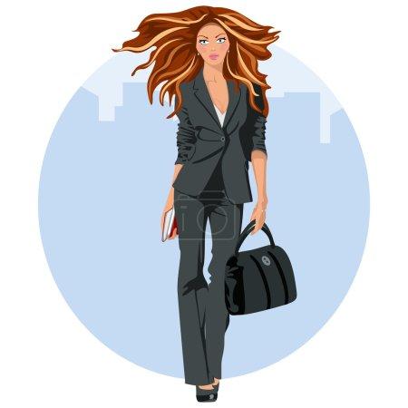 Illustration pour Jeune femme d'affaires avec costume d'affaires et mallette - image libre de droit
