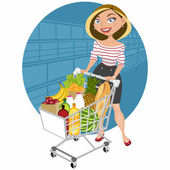 Beautiful woman at the supermarket making the purchase and the cart full