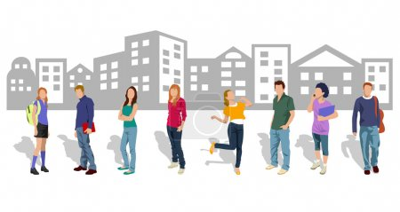 Illustration for Group of young men and women students - Royalty Free Image
