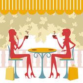 Friends having coffee or tea