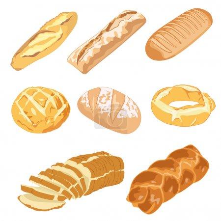 Illustration pour Ensemble de pains et bagels - image libre de droit