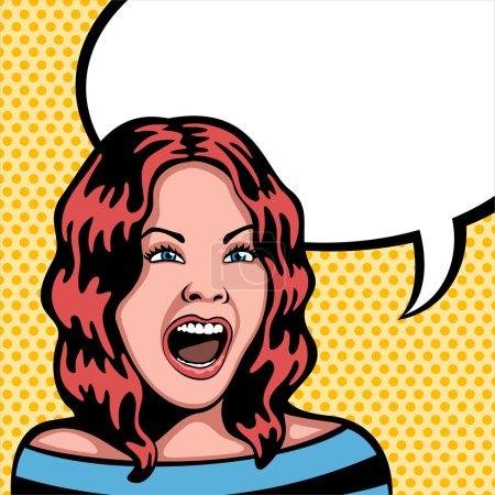 Illustration pour Dessin style pop comique d'une femme criant . - image libre de droit