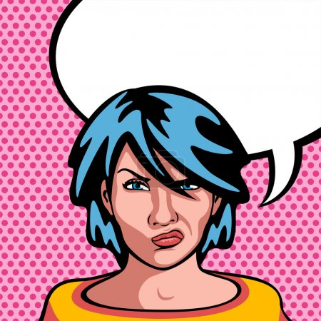 Drawing comic pop style of a angry woman...