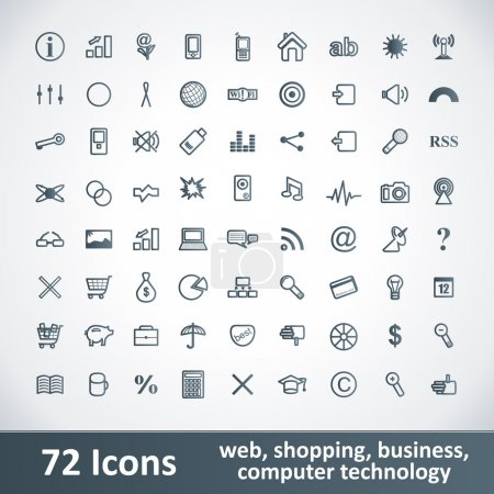 Illustration for Large Icons Set. 72 Items. Web Button Collection. - Royalty Free Image