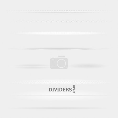 Illustration for Set of Dividers. Design elements with different shadows. - Royalty Free Image