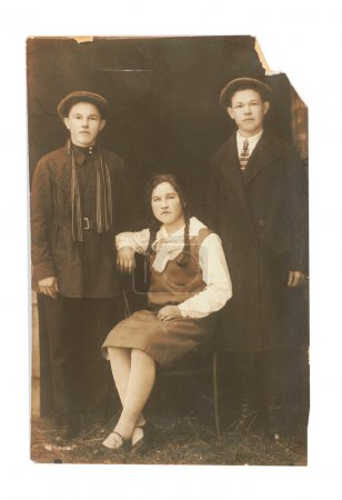 Vintage photo of two men and woman (Russia, beginning of the 20th century)