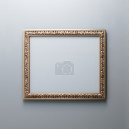 Classic Golden Carved Frame On White Wall (Rectangle Horizontal Version)