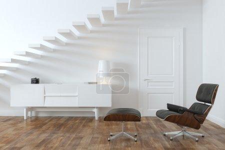 Foto de Habitación Interior minimalista con Lounge Chair (versión de puertas) - Imagen libre de derechos