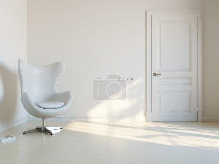 Foto de Habitación interior blanco minimalista con sillón de lujo - Imagen libre de derechos