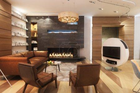 Photo pour Salon avec canapé en cuir et fauteuil près de la cheminée - image libre de droit