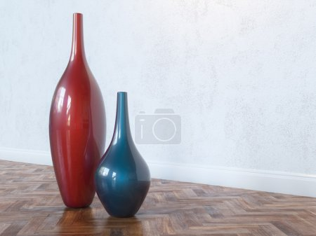 Decorative Ceramic Red And Blue Vases On Wooden Floor