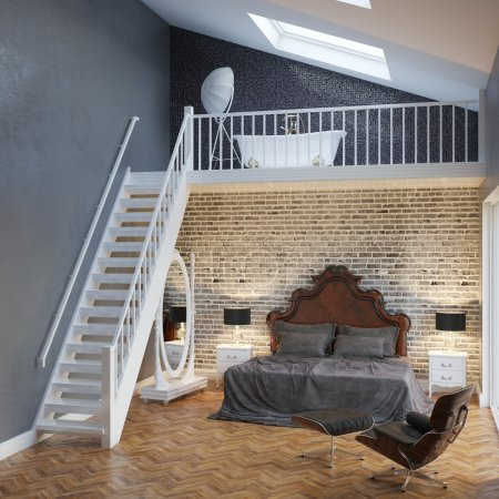 Photo for Large Bedroom Interior With Stairs And Vintage Furniture - Royalty Free Image