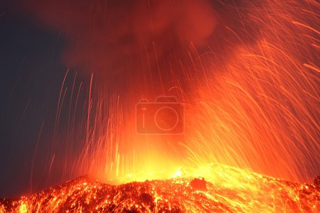 Strong night eruption close view to the volcano