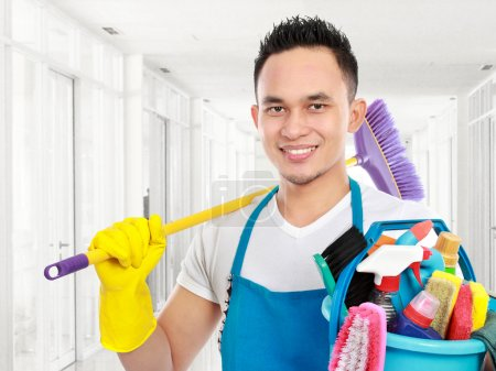Photo for Portrait of cleaning service cleaning the office - Royalty Free Image