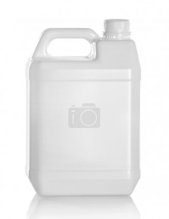 White plastic jerry can isolated on a white backgr...