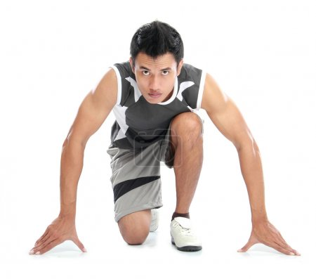 Photo for A view of a male athlete ready to run - Royalty Free Image