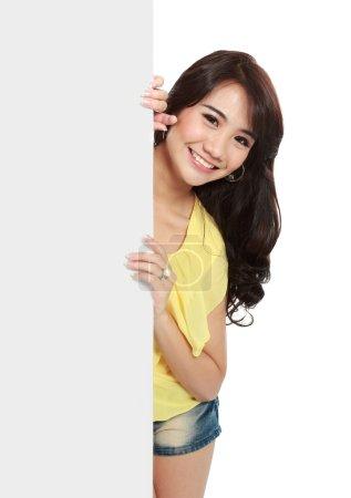 beauty asian model with blank board