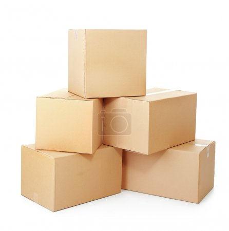 Photo for Piles of cardboard boxes on a white background - Royalty Free Image