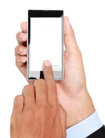 businessman Hand holding mobile smart phone with blank screen