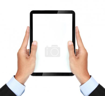 photo of a tablet held by a hand of businessman vertically