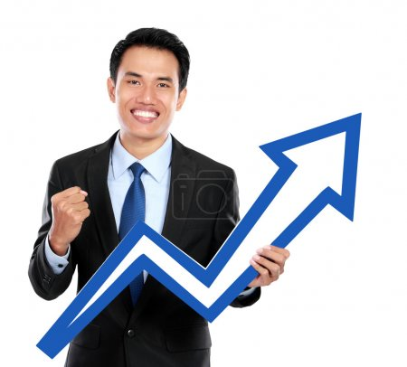 Businessman with up chart symbol in hand