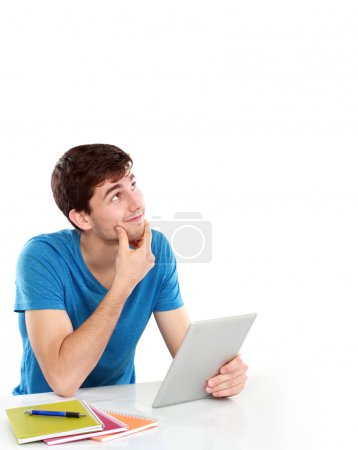 College student Thinking looking up to the empty blank space