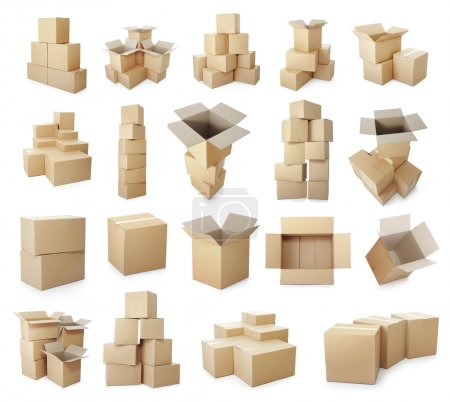 set of cardboard boxes pile