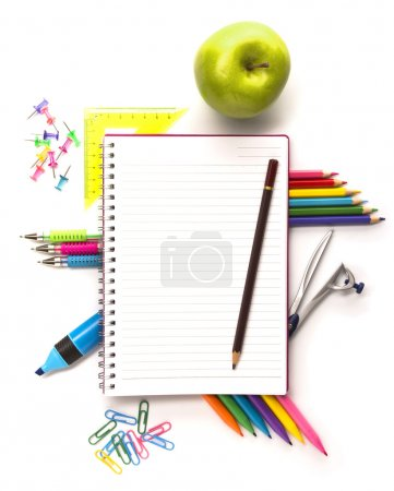 Notebook with stationary objects
