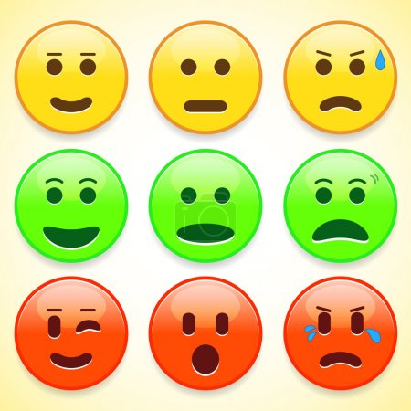 Set of colourful emoticon icons
