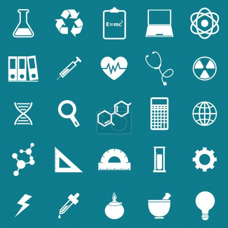Illustration for Science icons on blue background, stock vector - Royalty Free Image